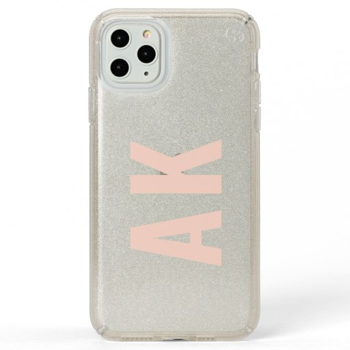 Minimalist Pink Initials Monogram Real Glitter Speck iPhone 11 Pro Max Case
