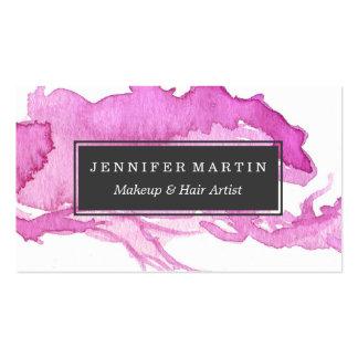 Minimalist Pink Watercolor Paint Daub Business Card