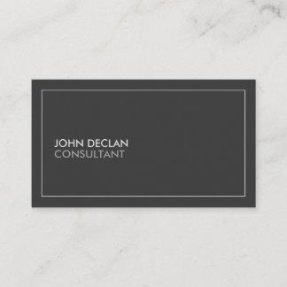 Minimalist Plain Dark Gray Professional Consultant Business Card