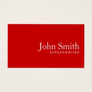 Minimalist Plain Red Screenwriter Business Card