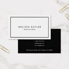 Minimalist Professional Elegant Black And White Business Card at Zazzle