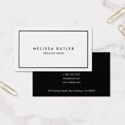 Minimalist Professional Elegant Black and White Business Card