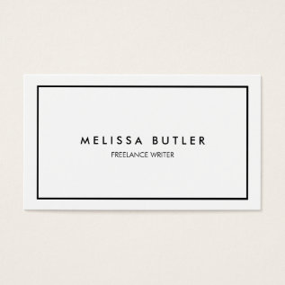 Minimalist Professional Elegant Black and White Business Card at Zazzle