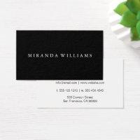 Minimalist Professional Elegant Black Business Card