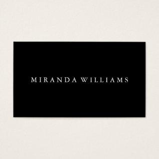 Minimalist Professional Elegant Black Business Card at Zazzle