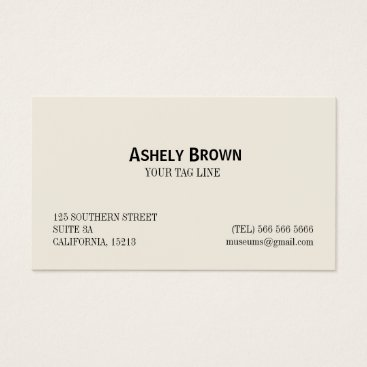 Professional Business Minimalist Professional Elegant Cream and White Business Card