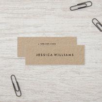 Minimalist Professional Rustic Kraft Mini Business Card