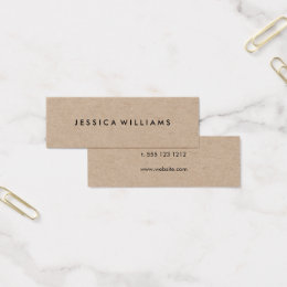 Mini business cards templates zazzle minimalist professional rustic kraft mini business card reheart Image collections