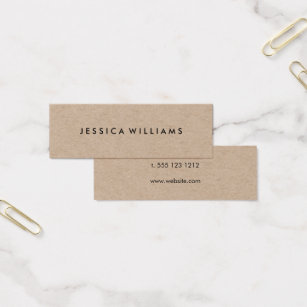 Minimalist Professional Rustic Kraft Mini Business Card