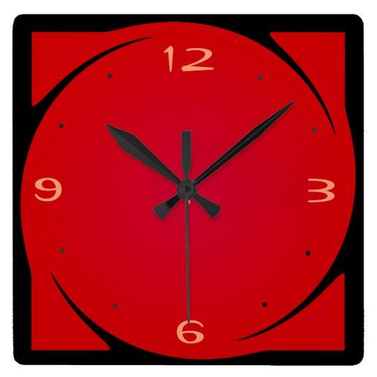 Minimalist Red Black Design Kitchen Clock