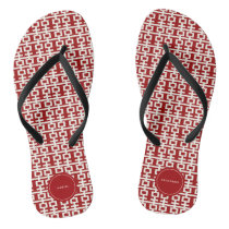 Minimalist Red Double Happiness Chinese Wedding Flip Flops