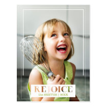 Minimalist Rejoice Modern Text Photo Postcard