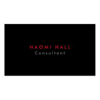Minimalist rojo negro elegante llano simple tarjetas de visita