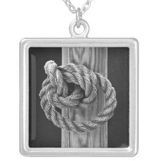 Minimalist Rope Knot Square Pendant Necklace