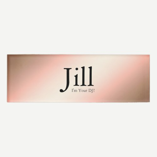 Minimalist Rose Gold Faux DJ Name Tag