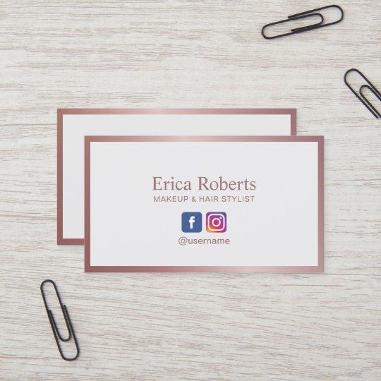 Minimalist Rose Gold Frame Social Media Business Card