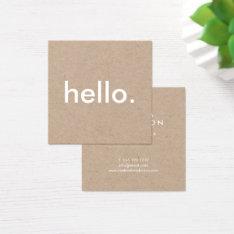 Minimalist Rustic Kraft Hello Square Business Card at Zazzle