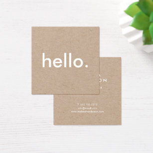 Square business cards templates zazzle minimalist rustic kraft hello square business card fbccfo Images