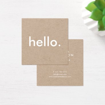 crispinstore Minimalist Rustic Kraft Hello Square Business Card