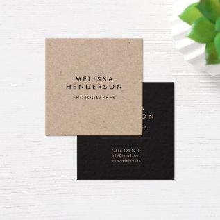 Minimalist Rustic Kraft Professional Square Business Card at Zazzle