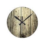 Minimalist Rustic Weathered Barn Wood Look Round Clock