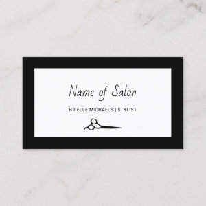 Minimalist Salon Plain Black and White Scissors Business Card