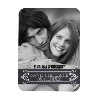 Minimalist Save the Date modern wedding photo Magnet