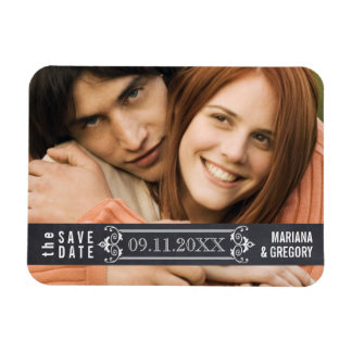 Minimalist Save the Date modern wedding photo Rectangular Magnet