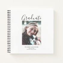 Minimalist Script White Photo Graduation Notebook