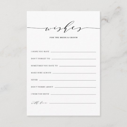 Minimalist Script Wishes For The Bride And Groom Advice Card