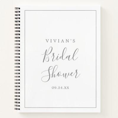Minimalist Silver Bridal Shower Gift List Notebook