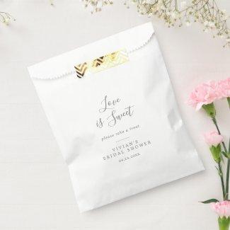 Minimalist Silver Bridal Shower Love Is Sweet Favor Bag