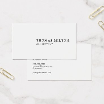 Lawyer Themed Minimalist Simple Black White Consultant Business Card