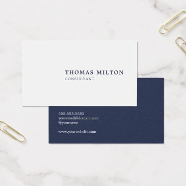 Lawyer Themed Minimalist Simple Blue White Consultant Business Card