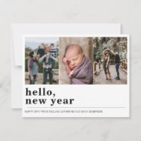 Minimalist Simple Hello Happy New Year 3 Photo Holiday Card