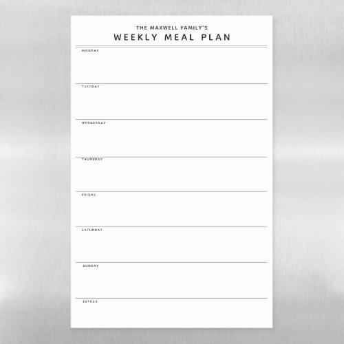 Minimalist Simple Meal Planner Magnetic Dry Erase Sheet