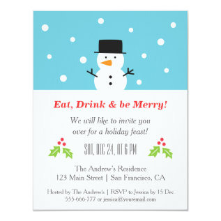 Minimalist Snowman Christmas Party Invitations at Zazzle