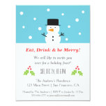Minimalist Snowman Christmas Party Invitations