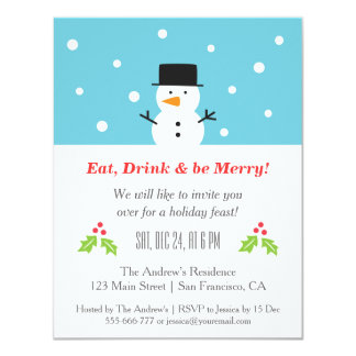 Minimalist Snowman Christmas Party Invitations