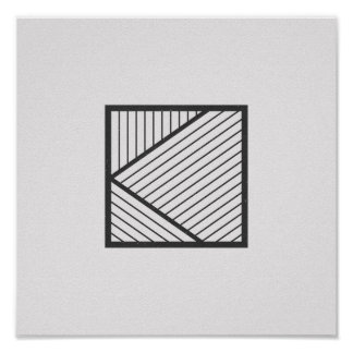 Minimalist Striped Square Black and White Poster