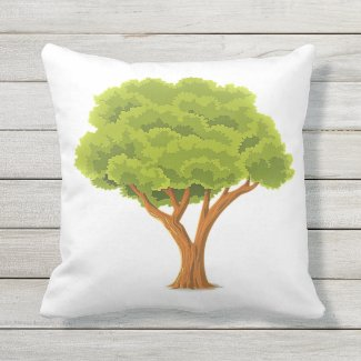 Minimalist Style  Green Leaf Tree Throw Pillow