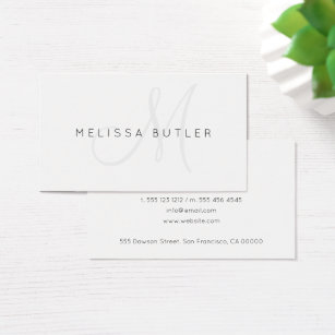Monogram business cards 15700 monogram business card templates minimalist stylish gray monogram business card colourmoves