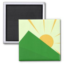 Minimalist Sunrise Over Mountain Magnet