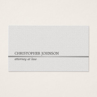 Minimalist Texture White Faux Silver Line Attorney Business Card