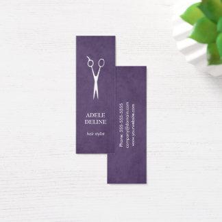 Minimalist Textured Purple Scissor Hair Stylist Mini Business Card