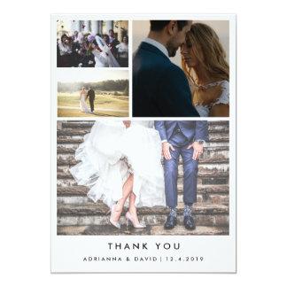 Minimalist Thank You | Four Couple Photo Wedding Card