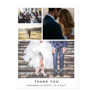 Minimalist Thank You | Four Couple Photo Wedding Postcard
