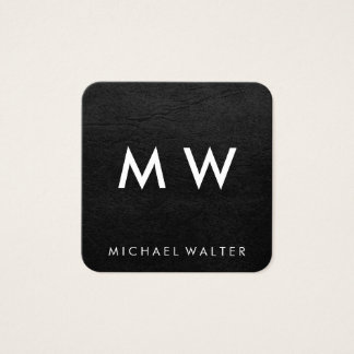 Minimalist Two Letter Monogram Faux Leather Square Business Card