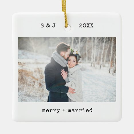 Minimalist Typewriter | Merry and Married Photo Ceramic Ornament