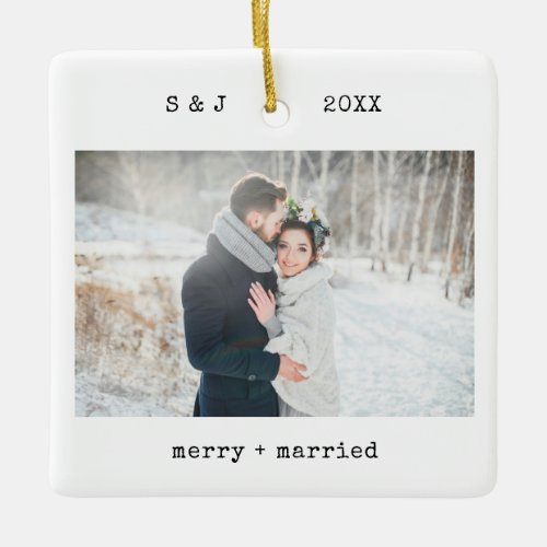 Minimalist Typewriter  Merry and Married Photo Ceramic Ornament